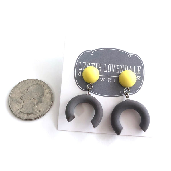 half moon earrings yellow