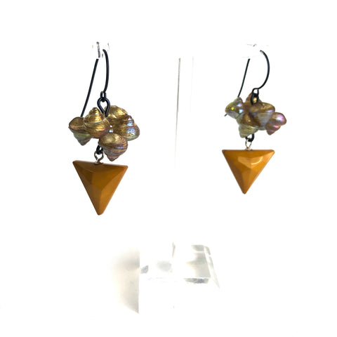 Aurora Shell Golden Triangle Drop Earrings