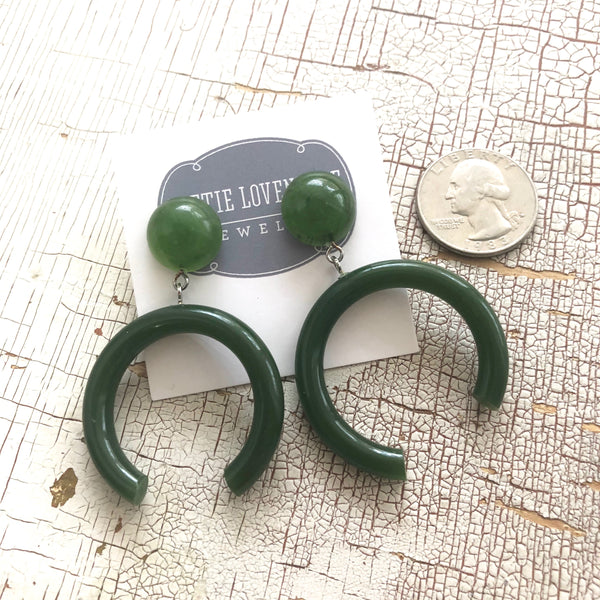 jade earrings lucite