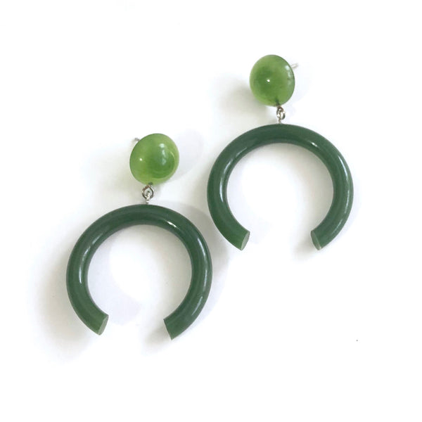 dark green statement earrings