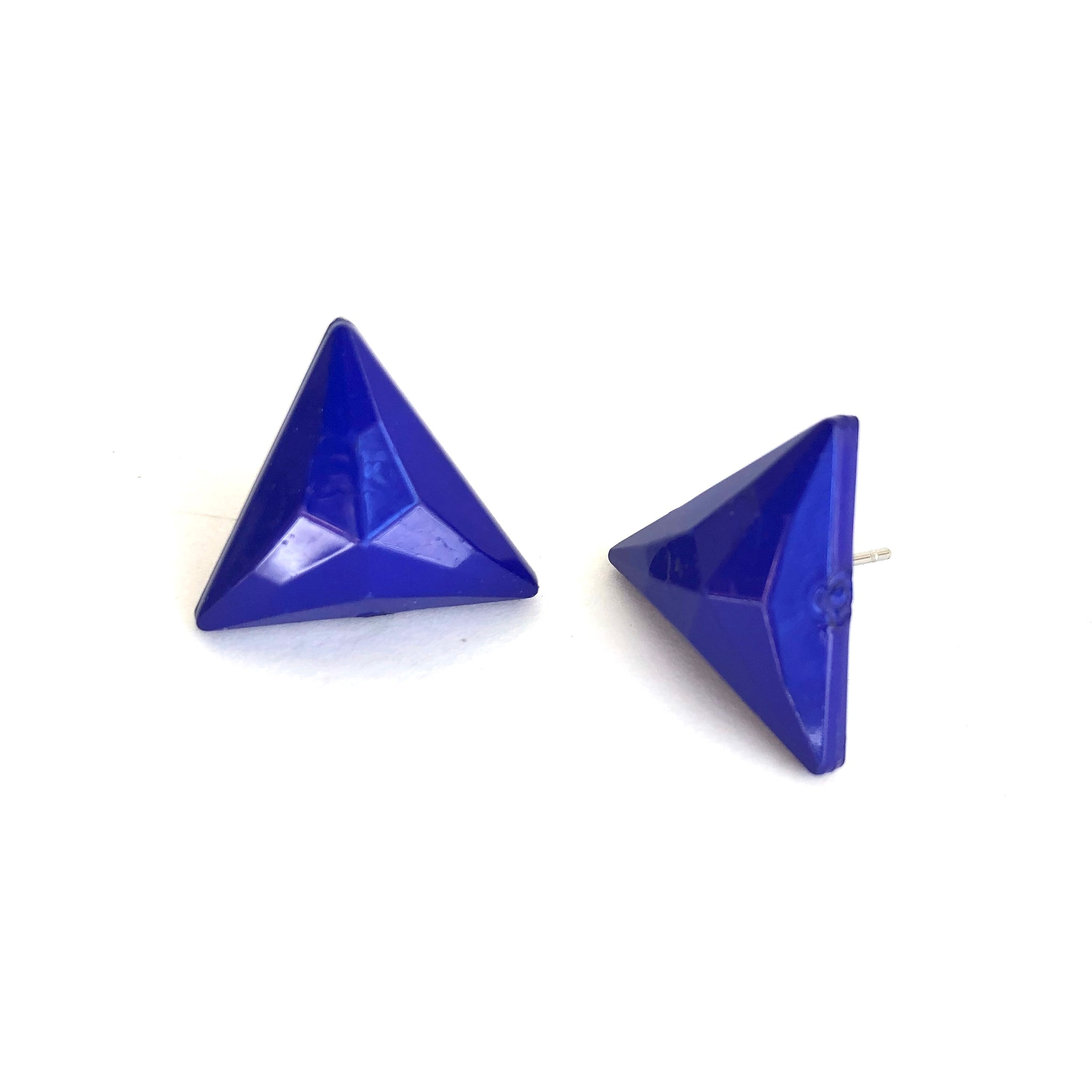 Cobalt Blue Faceted Triangle Stud Earrings