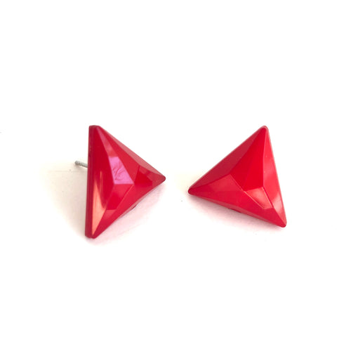 Cherry Red Faceted Triangle Stud Earrings