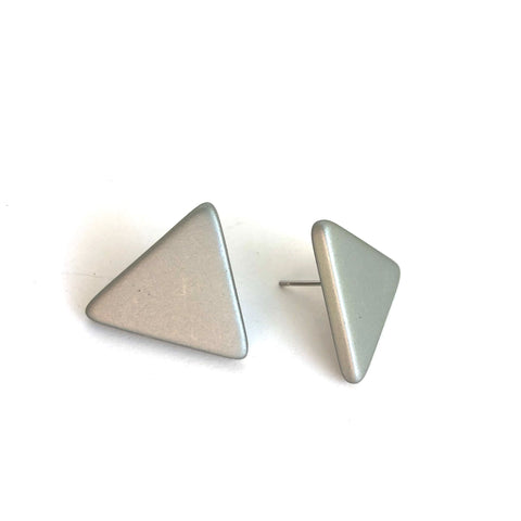 Silver Grey Matte Triangle Stud Earrings