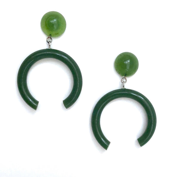 huge green earrings