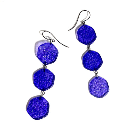 blue triple earrings