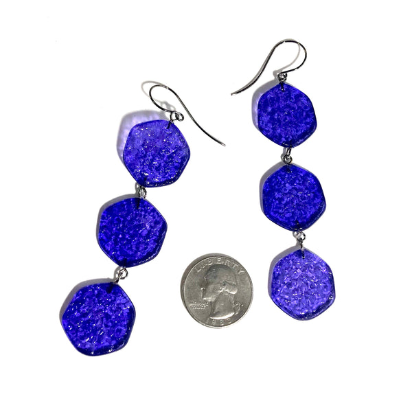 lucite statement earrings blue