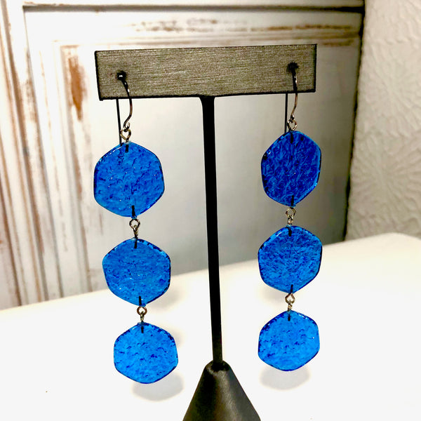 long aqua earrings