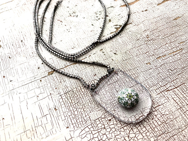 Crystal Pave' Rope Necklace with Bohemian Floral Pendant