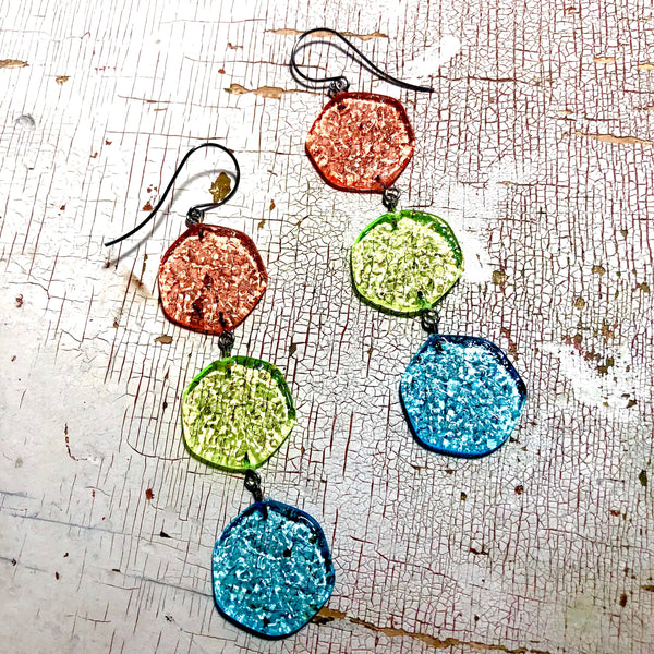 citrus stained glass earrings