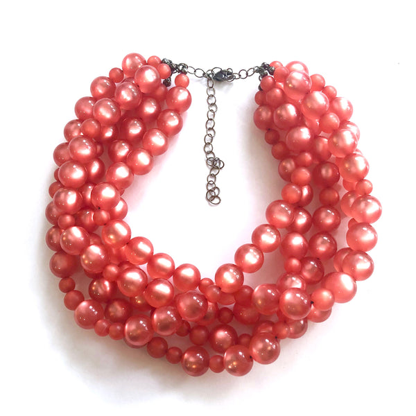coral moonglow lucite necklace