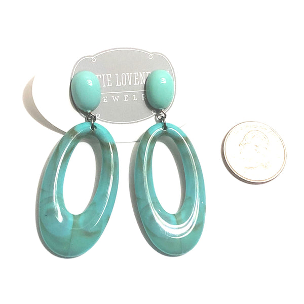 turquoise marbled statement earrings