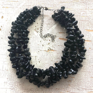 Black Beaded Chunky Chippy Vintage Lucite Morgan Statement Necklace