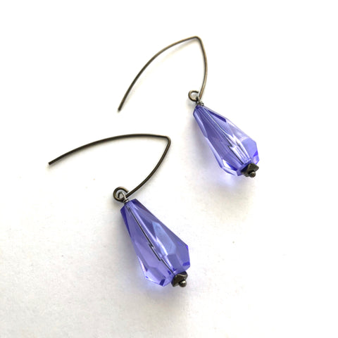 Recycled skateboard drop earrings purple and maple with graphics on surgical steel hooks