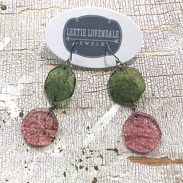 stained glass earrings pink green