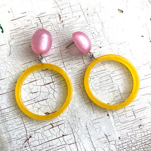 Pink Moonglow & Yellow  Donut Drop Earrings
