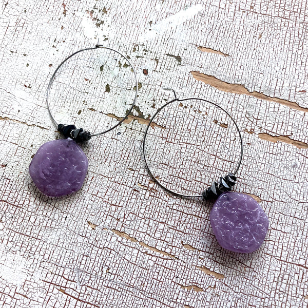 purple lucite hoops