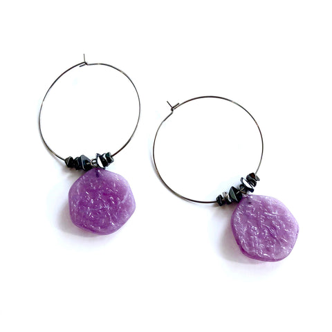 purple stained glass hoops