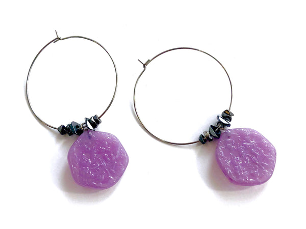 purple stained glass earrings