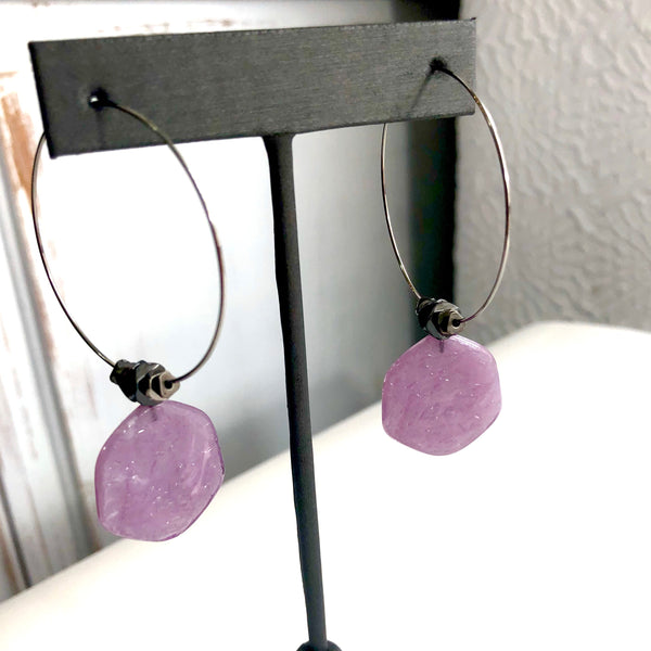 hoop earrings purple