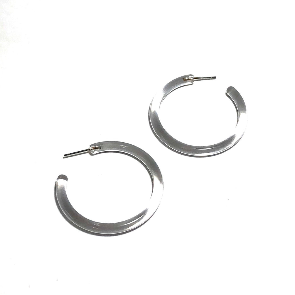 3b212ebae4df6 Clear Lucite Skinny Tube Hoop Earrings 1.5 Inch