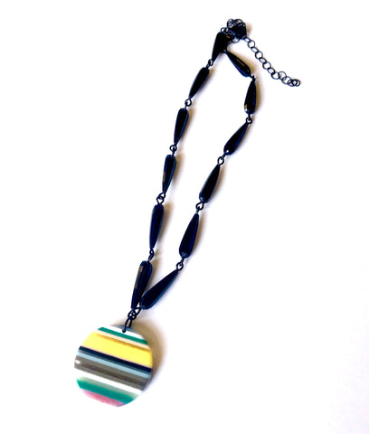 Black Faceted with PinStripe Beaded Aleta Necklace