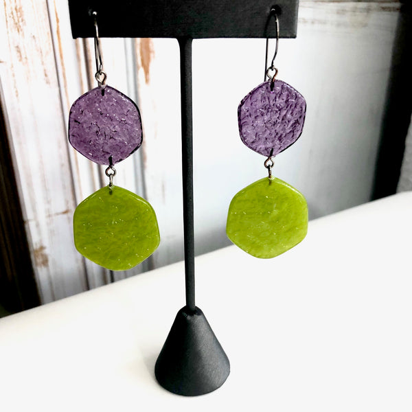 purple lime dangle earrings