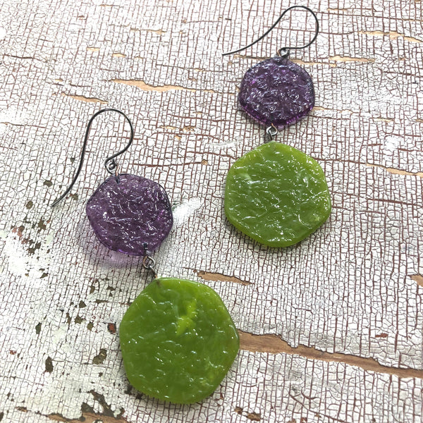 olive green drop earrings