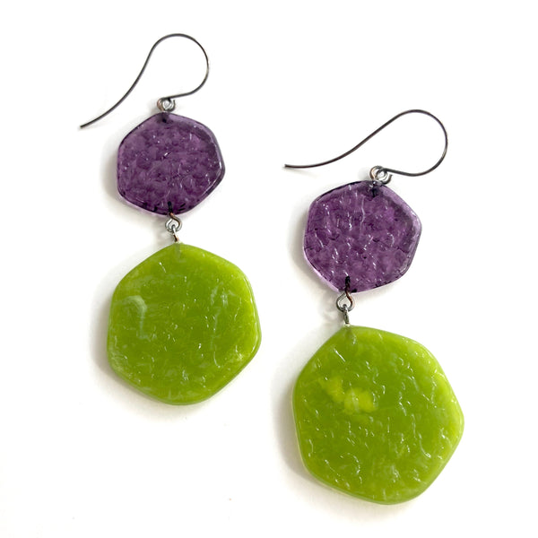 lime purple long earrings
