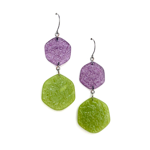 chartreuse purple earrings