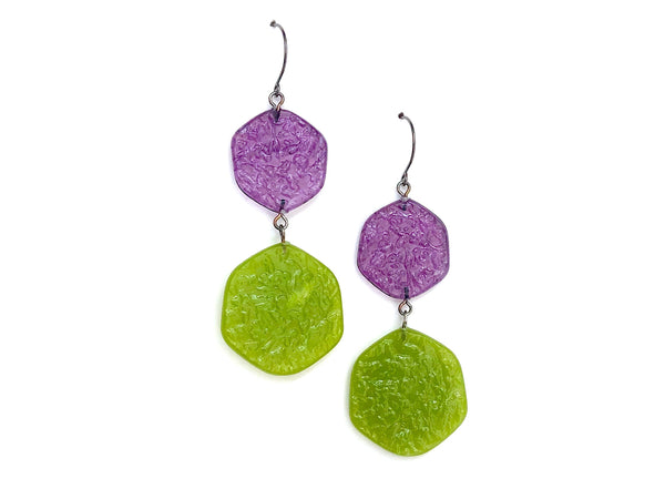 purple lime earrings