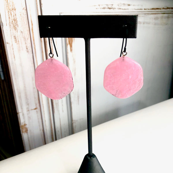 light pink statement earrings