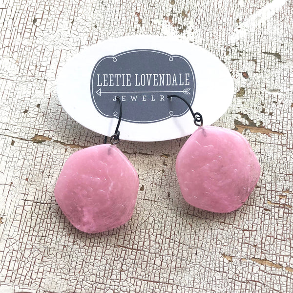 pink lucite earrings