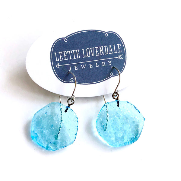Turquoise lucite earrings