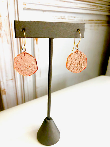 coral stained glass earrings