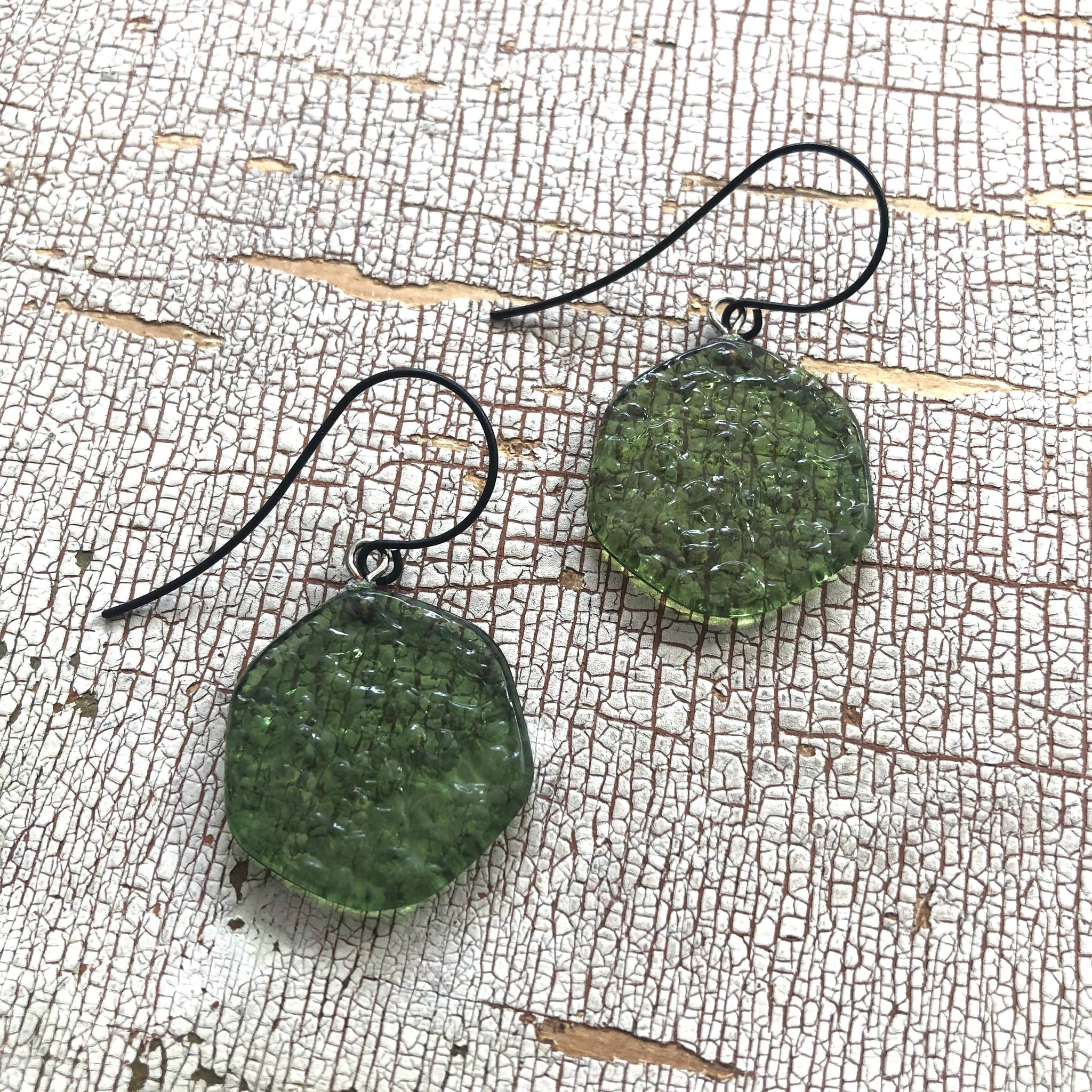 olive green earrings
