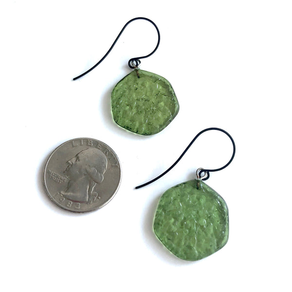 dark green drop earrings