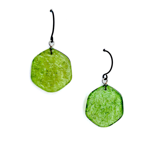 olive green textured earrings