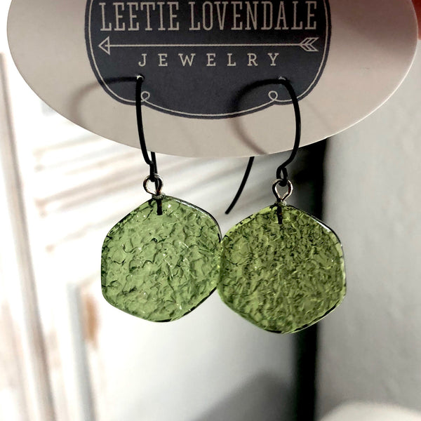 olive green dangle earrings