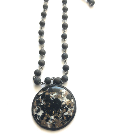 Black & White Mosaic Beaded Layering Necklace - Shortie