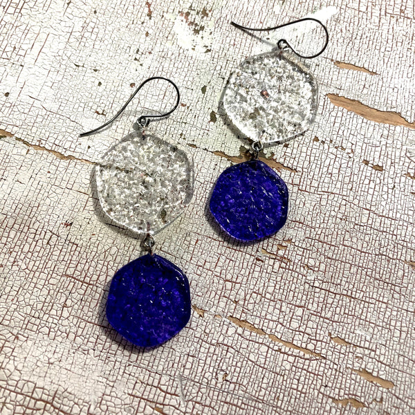clear blue stained glass earrings