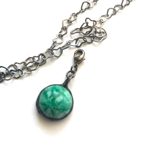 Green Small Mosaic Moonglow Charm- Add on to Layering Necklace - Counter Weight
