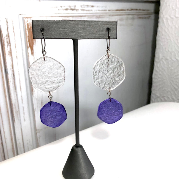 cobalt blue stained glass earrings