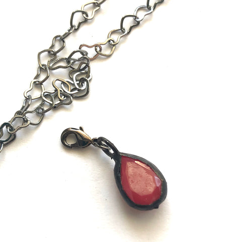 Ruby Luster Teardrop Charm- Add on to Layering Necklace - Counter Weight