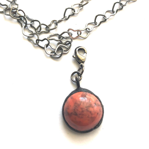 Coral Mosaic Charm- Add on to Layering Necklace - Counter Weight
