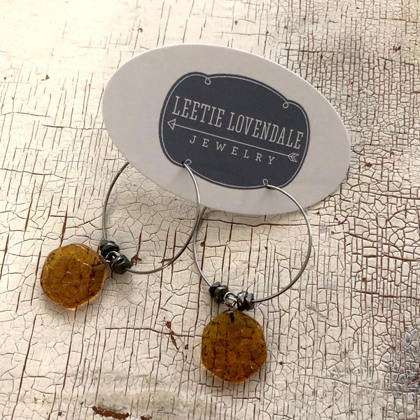 brown lucite charm hoops