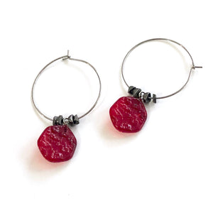 red gun metal hoops