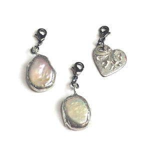 Textured Heart Charm- Add on to Layering Necklace - Counter Weight