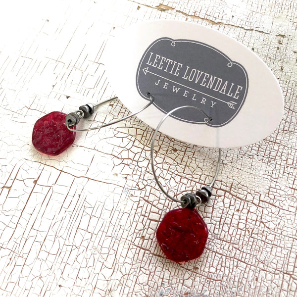 red hoop earrings lucite