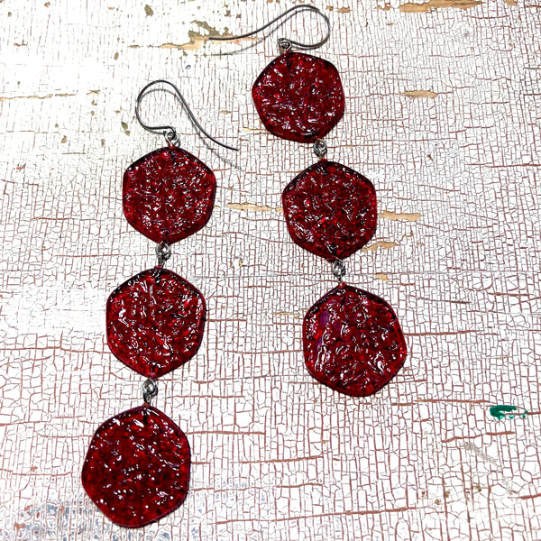 red stained glass drop earrings