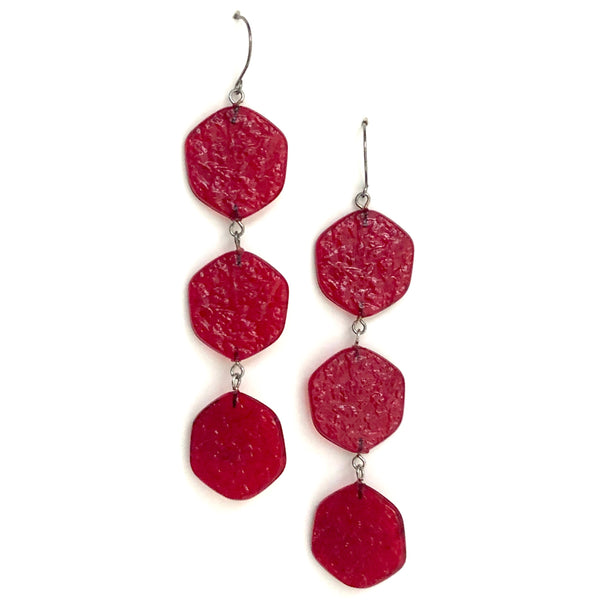 textured red earrings